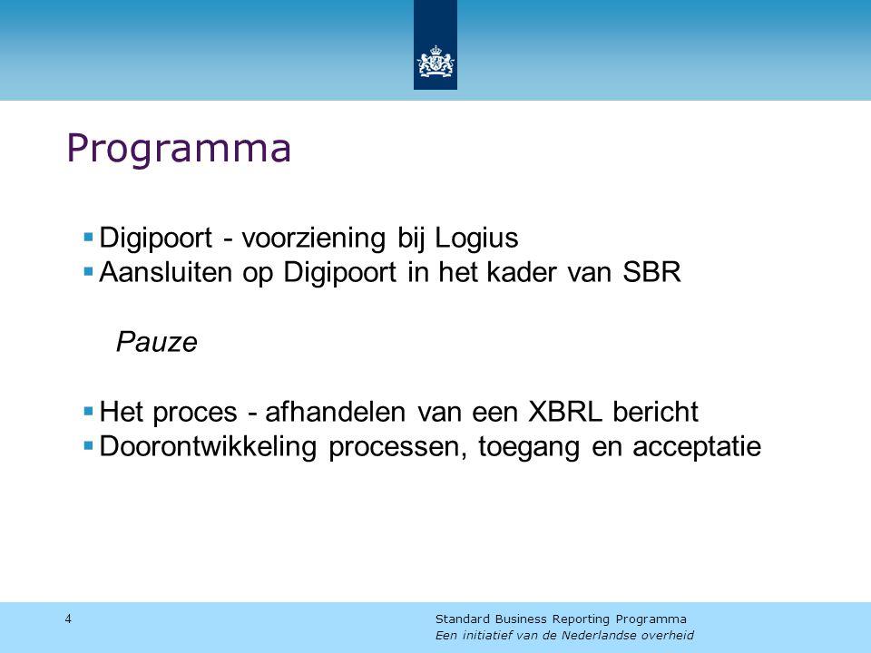 Programma 4 Standard Business Reporting Programma Een initiatief van de Nederlandse overheid  Digipoort - voorziening bij Logius  Aansluiten op Digipoort in het kader van SBR Pauze  Het proces - afhandelen van een XBRL bericht  Doorontwikkeling processen, toegang en acceptatie