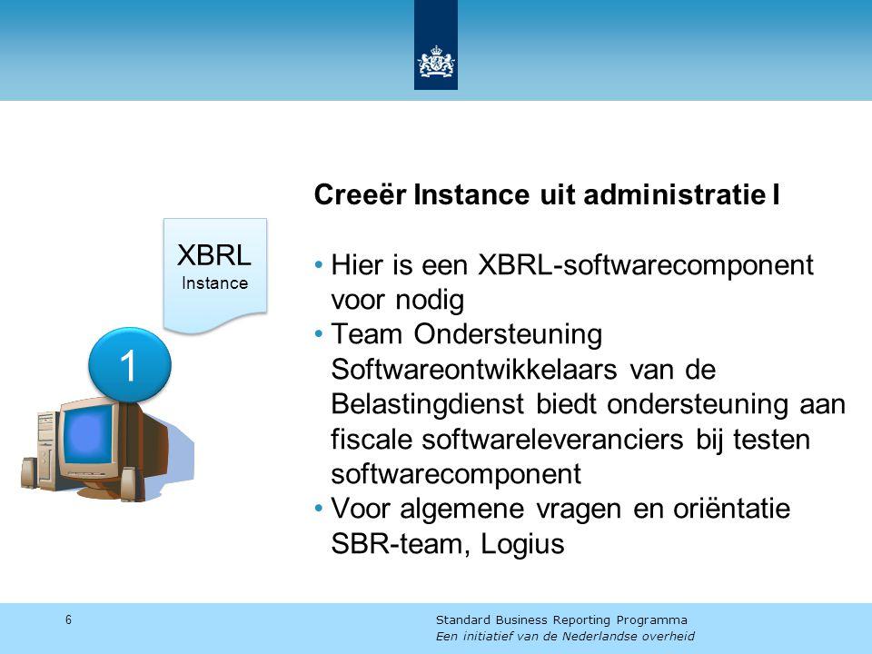 Creeër Instance uit administratie I Hier is een XBRL-softwarecomponent voor nodig Team Ondersteuning Softwareontwikkelaars van de Belastingdienst biedt ondersteuning aan fiscale softwareleveranciers bij testen softwarecomponent Voor algemene vragen en oriëntatie SBR-team, Logius 6 Standard Business Reporting Programma Een initiatief van de Nederlandse overheid 1 1 XBRL Instance XBRL Instance