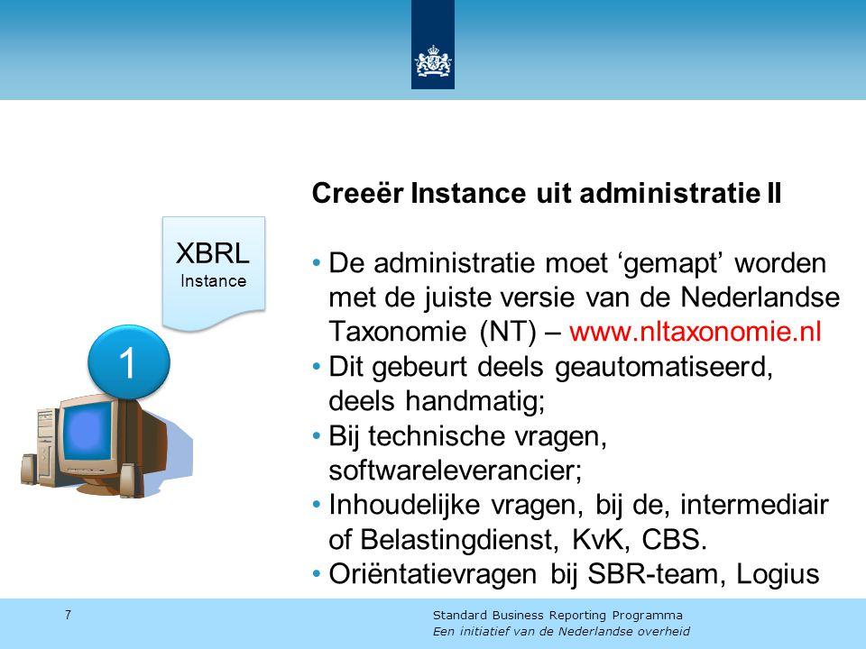 Creeër Instance uit administratie II De administratie moet 'gemapt' worden met de juiste versie van de Nederlandse Taxonomie (NT) – www.nltaxonomie.nl