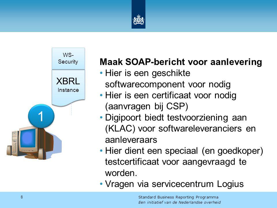 Maak SOAP-bericht voor aanlevering Hier is een geschikte softwarecomponent voor nodig Hier is een certificaat voor nodig (aanvragen bij CSP) Digipoort biedt testvoorziening aan (KLAC) voor softwareleveranciers en aanleveraars Hier dient een speciaal (en goedkoper) testcertificaat voor aangevraagd te worden.