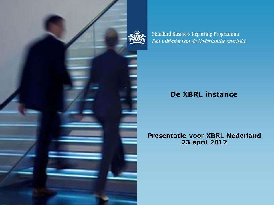 De XBRL instance Presentatie voor XBRL Nederland 23 april 2012