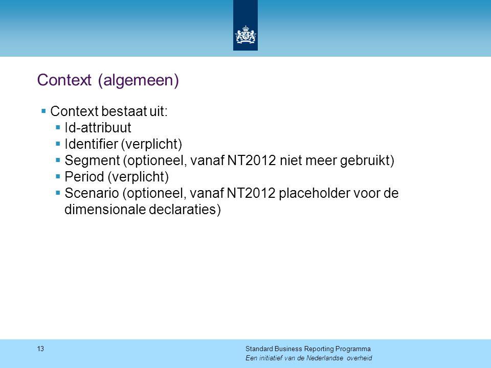 Context (algemeen)  Context bestaat uit:  Id-attribuut  Identifier (verplicht)  Segment (optioneel, vanaf NT2012 niet meer gebruikt)  Period (ver