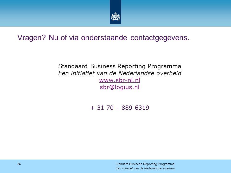 Vragen? Nu of via onderstaande contactgegevens. 24Standard Business Reporting Programma Een initiatief van de Nederlandse overheid Standaard Business