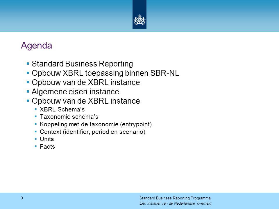 Agenda  Standard Business Reporting  Opbouw XBRL toepassing binnen SBR-NL  Opbouw van de XBRL instance  Algemene eisen instance  Opbouw van de XB
