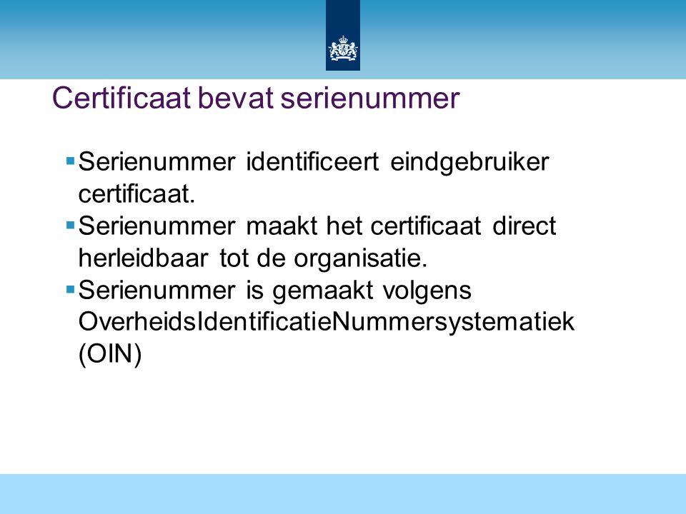 Certificaat bevat serienummer  Serienummer identificeert eindgebruiker certificaat.  Serienummer maakt het certificaat direct herleidbaar tot de org