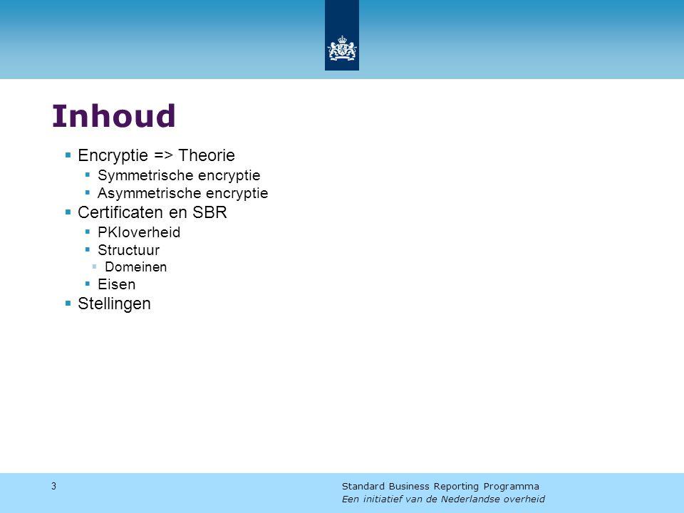 Inhoud  Encryptie => Theorie  Symmetrische encryptie  Asymmetrische encryptie  Certificaten en SBR  PKIoverheid  Structuur  Domeinen  Eisen  Stellingen 3 Standard Business Reporting Programma Een initiatief van de Nederlandse overheid