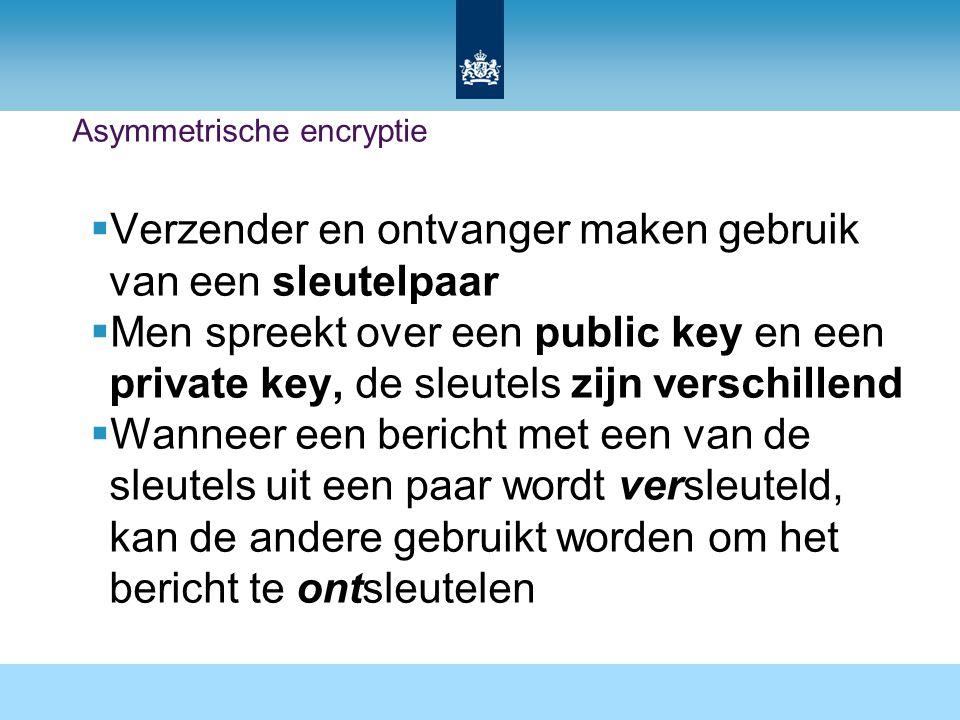 Asymmetrische encryptie  Verzender en ontvanger maken gebruik van een sleutelpaar  Men spreekt over een public key en een private key, de sleutels zijn verschillend  Wanneer een bericht met een van de sleutels uit een paar wordt versleuteld, kan de andere gebruikt worden om het bericht te ontsleutelen