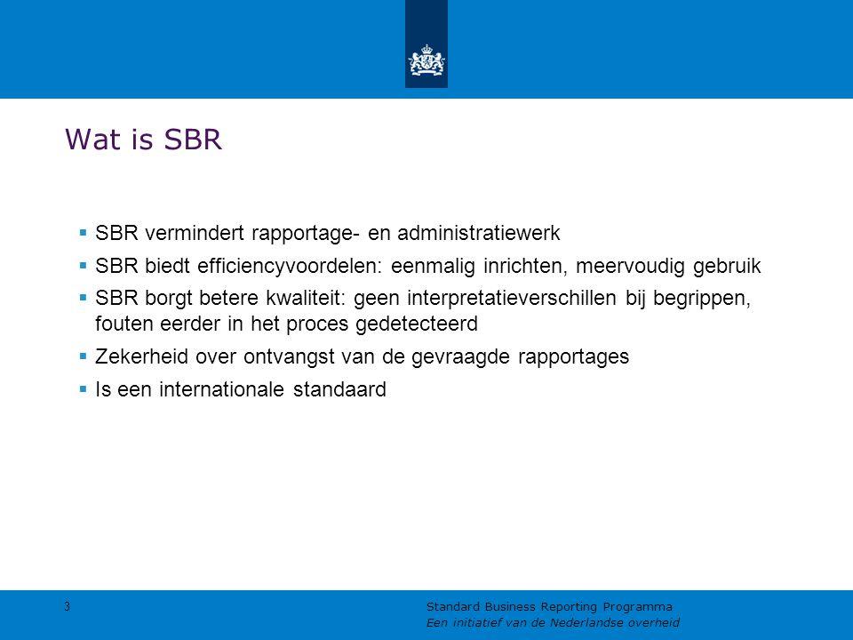 Wat is SBR  SBR vermindert rapportage- en administratiewerk  SBR biedt efficiencyvoordelen: eenmalig inrichten, meervoudig gebruik  SBR borgt beter