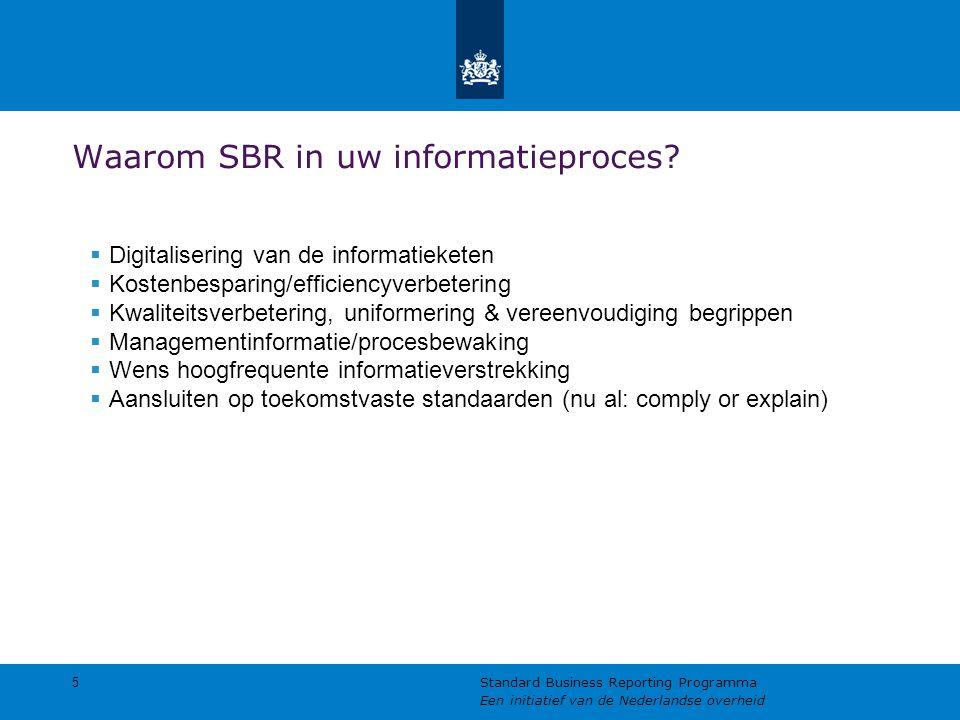 Waarom SBR in uw informatieproces?  Digitalisering van de informatieketen  Kostenbesparing/efficiencyverbetering  Kwaliteitsverbetering, uniformeri