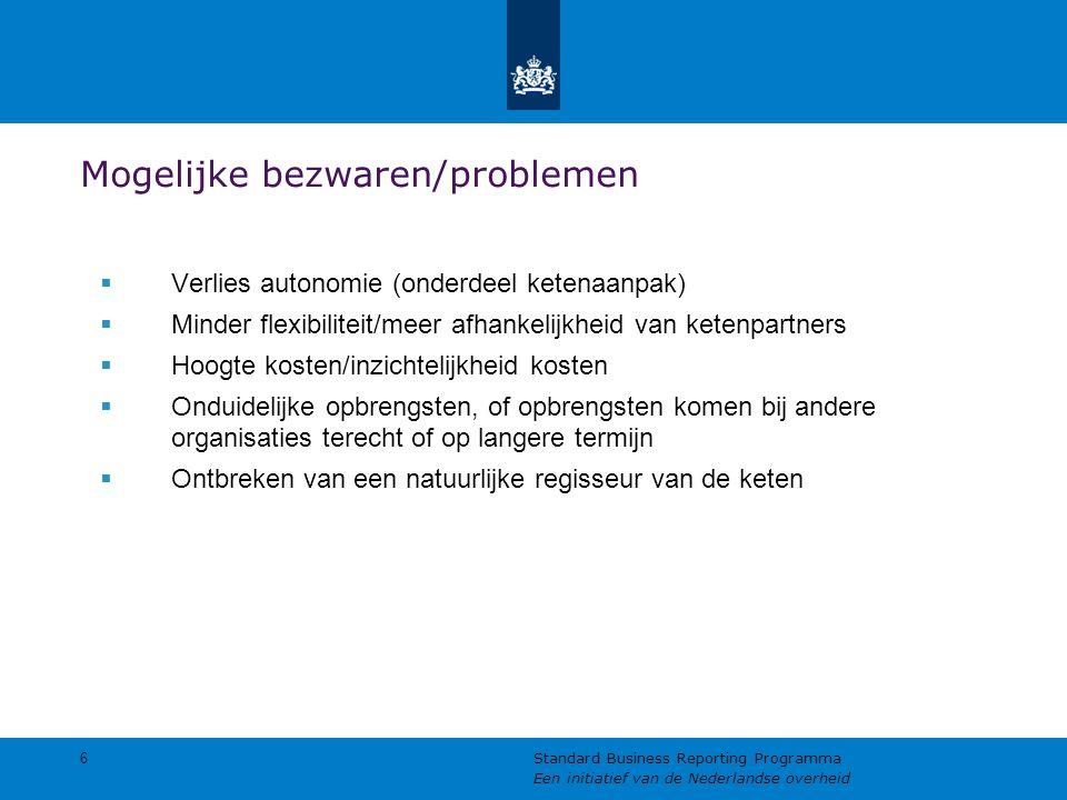 Mogelijke bezwaren/problemen  Verlies autonomie (onderdeel ketenaanpak)  Minder flexibiliteit/meer afhankelijkheid van ketenpartners  Hoogte kosten