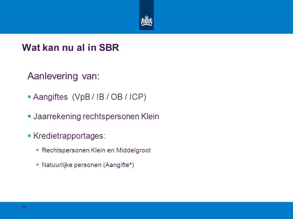 Wat kan nu al in SBR Aanlevering van:  Aangiftes (VpB / IB / OB / ICP)  Jaarrekening rechtspersonen Klein  Kredietrapportages:  Rechtspersonen Kle