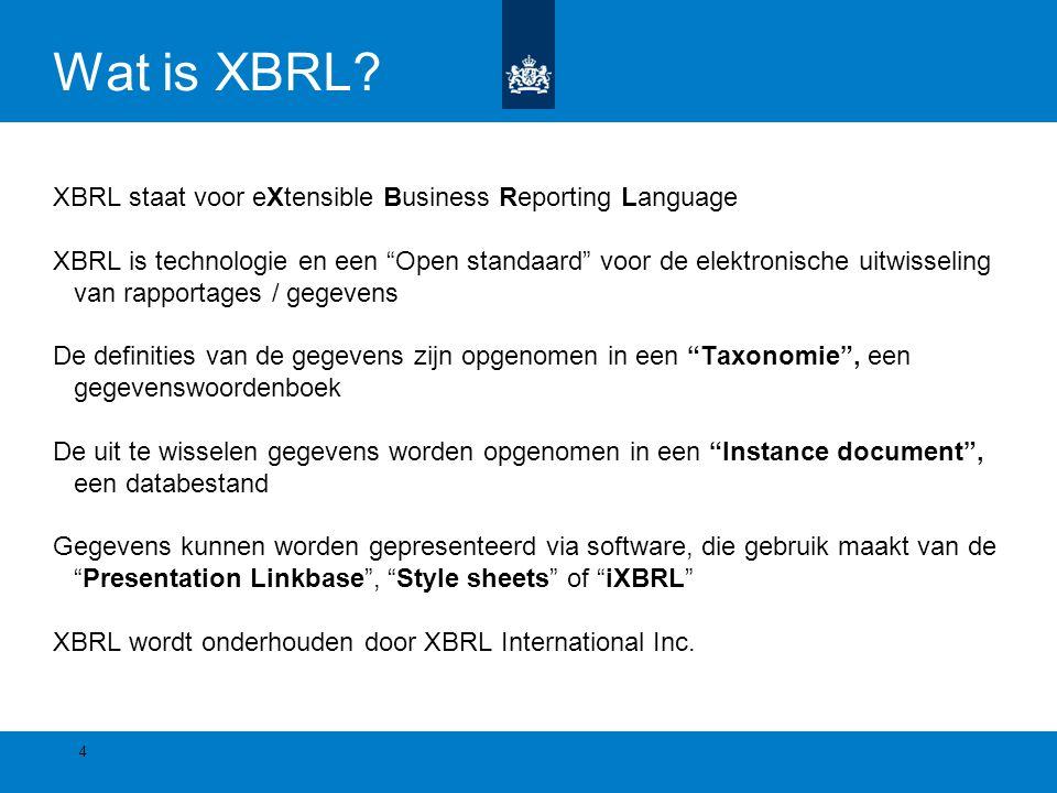 """Wat is XBRL? XBRL staat voor eXtensible Business Reporting Language XBRL is technologie en een """"Open standaard"""" voor de elektronische uitwisseling van"""