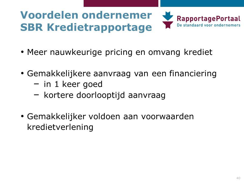 40 Voordelen ondernemer SBR Kredietrapportage Meer nauwkeurige pricing en omvang krediet Gemakkelijkere aanvraag van een financiering – in 1 keer goed