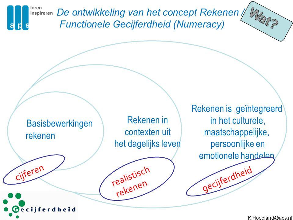 Rekenen is geïntegreerd in het culturele, maatschappelijke, persoonlijke en emotionele handelen Basisbewerkingen rekenen Rekenen in contexten uit het
