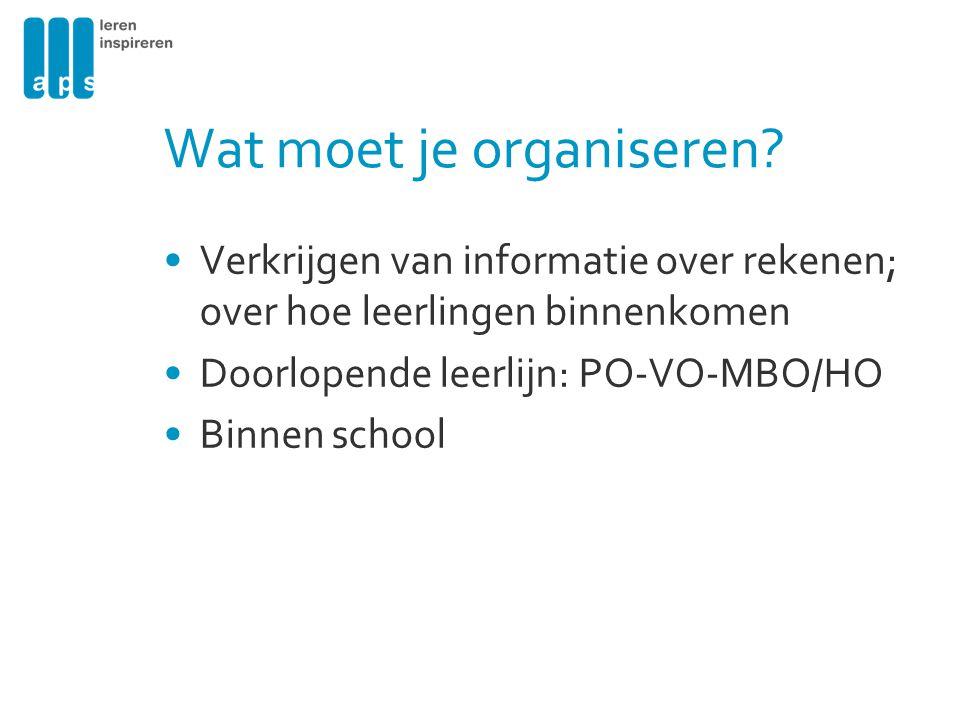 Wat moet je organiseren? Verkrijgen van informatie over rekenen; over hoe leerlingen binnenkomen Doorlopende leerlijn: PO-VO-MBO/HO Binnen school