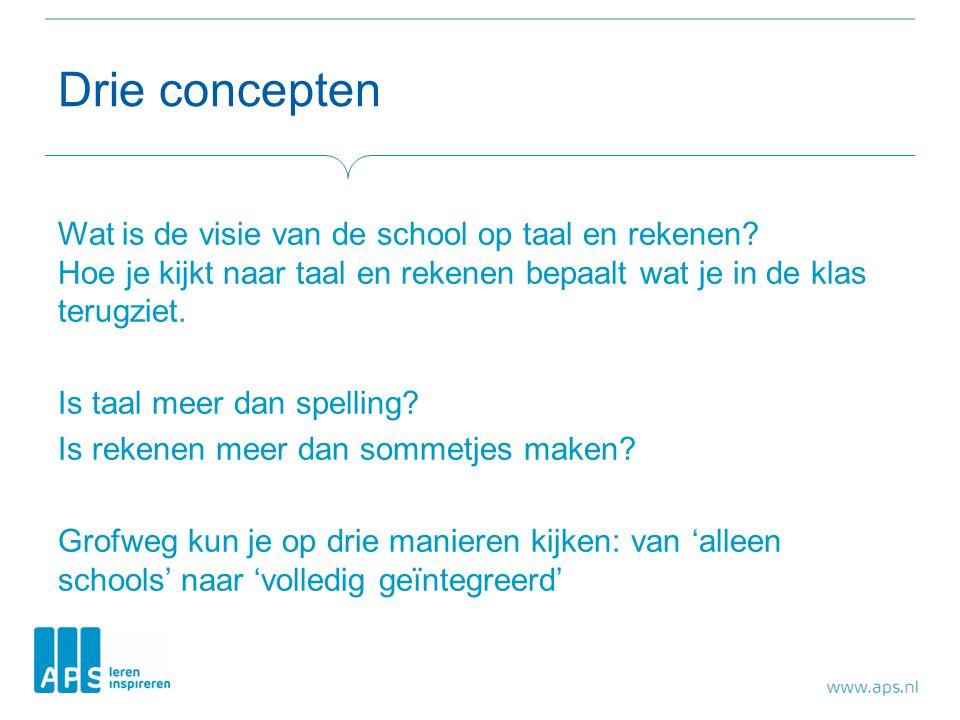 Drie concepten Wat is de visie van de school op taal en rekenen? Hoe je kijkt naar taal en rekenen bepaalt wat je in de klas terugziet. Is taal meer d
