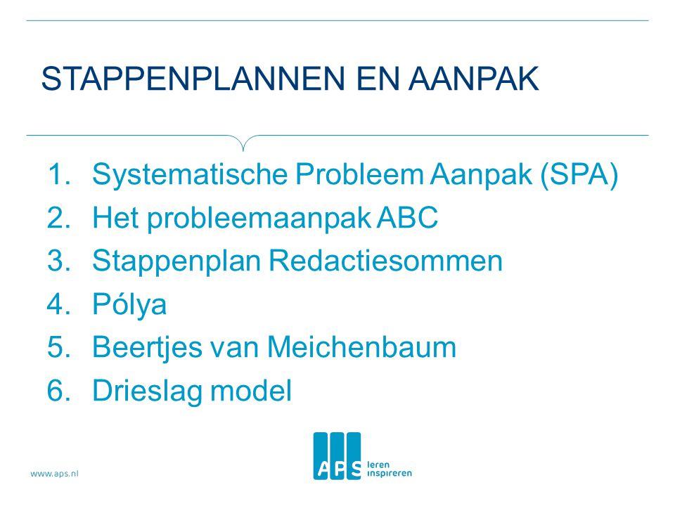 STAPPENPLANNEN EN AANPAK 1.Systematische Probleem Aanpak (SPA) 2.Het probleemaanpak ABC 3.Stappenplan Redactiesommen 4.Pólya 5.Beertjes van Meichenbau
