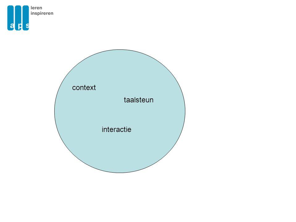 Taal in de klas Context: het gaat ergens over Interactie: er wordt echt gepraat Taalsteun: leerlingen krijgen steun waar nodig