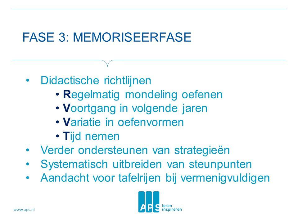 FASE 3: MEMORISEERFASE Didactische richtlijnen Regelmatig mondeling oefenen Voortgang in volgende jaren Variatie in oefenvormen Tijd nemen Verder onde