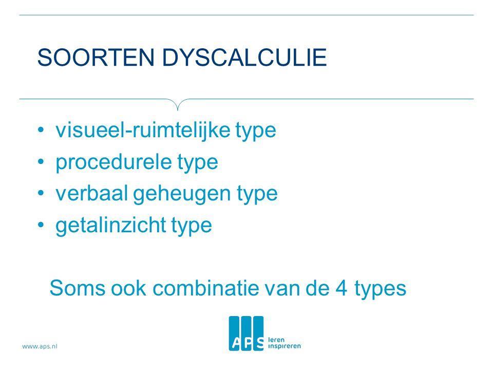 SOORTEN DYSCALCULIE visueel-ruimtelijke type procedurele type verbaal geheugen type getalinzicht type Soms ook combinatie van de 4 types