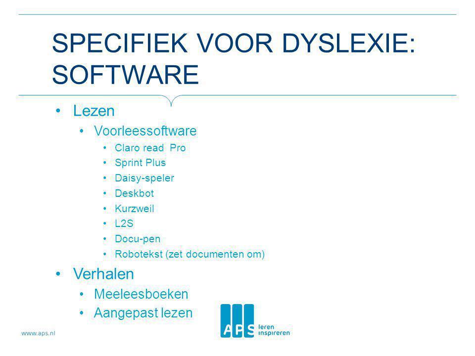 SPECIFIEK VOOR DYSLEXIE: SOFTWARE Lezen Voorleessoftware Claro read Pro Sprint Plus Daisy-speler Deskbot Kurzweil L2S Docu-pen Robotekst (zet document