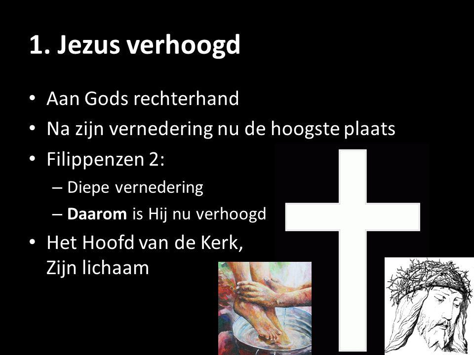 1. Jezus verhoogd Aan Gods rechterhand Na zijn vernedering nu de hoogste plaats Filippenzen 2: – Diepe vernedering – Daarom is Hij nu verhoogd Het Hoo