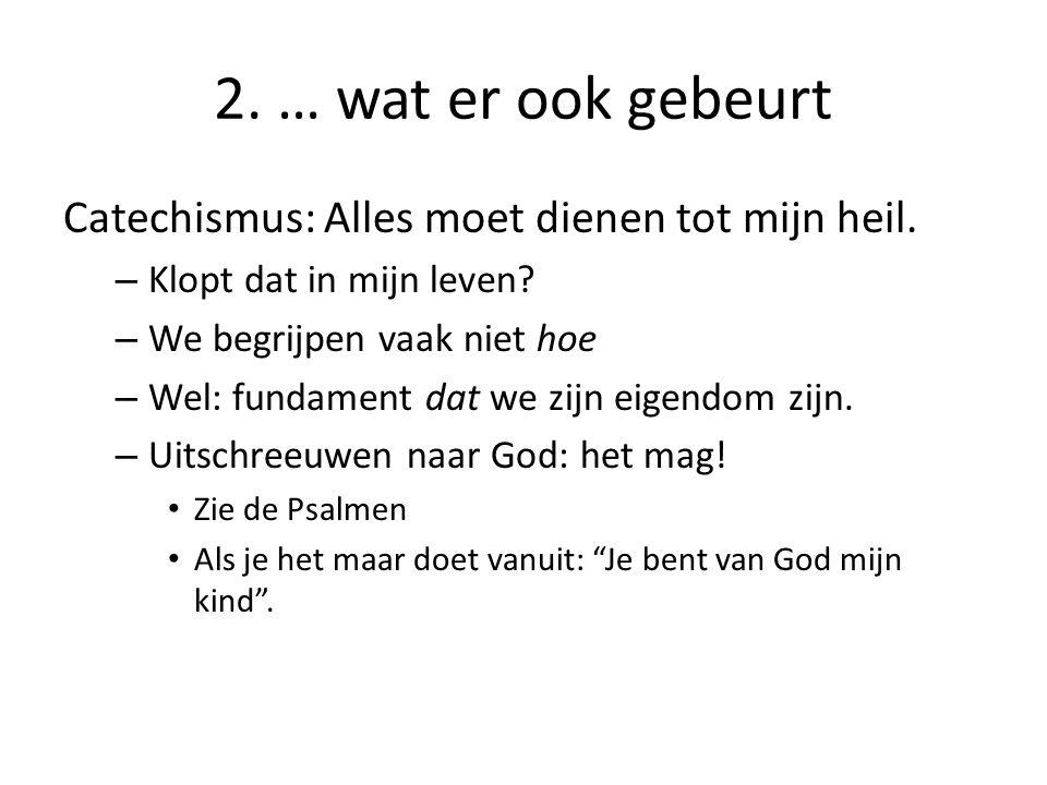 2. … wat er ook gebeurt Catechismus: Alles moet dienen tot mijn heil. – Klopt dat in mijn leven? – We begrijpen vaak niet hoe – Wel: fundament dat we