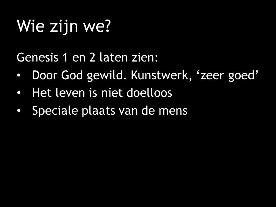 Wie zijn we? Genesis 1 en 2 laten zien: Door God gewild. Kunstwerk, 'zeer goed' Het leven is niet doelloos Speciale plaats van de mens
