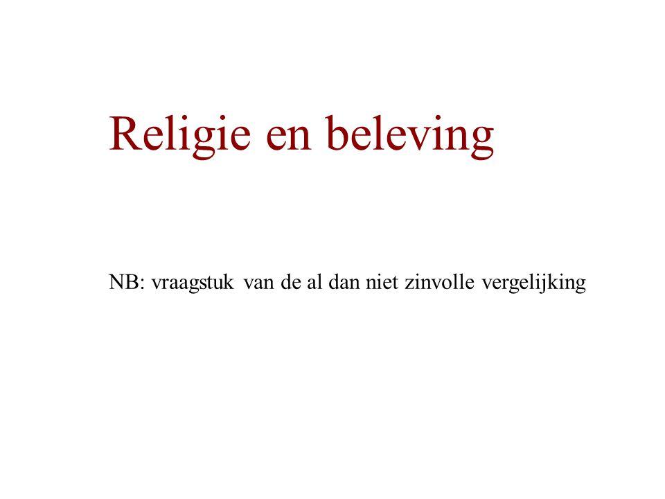 Religie en beleving NB: vraagstuk van de al dan niet zinvolle vergelijking