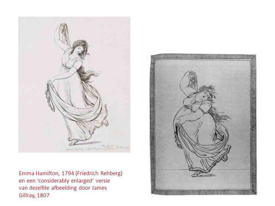 Emma Hamilton, 1794 (Friedrich Rehberg) en een 'considerably enlarged' versie van dezelfde afbeelding door James Gillray, 1807