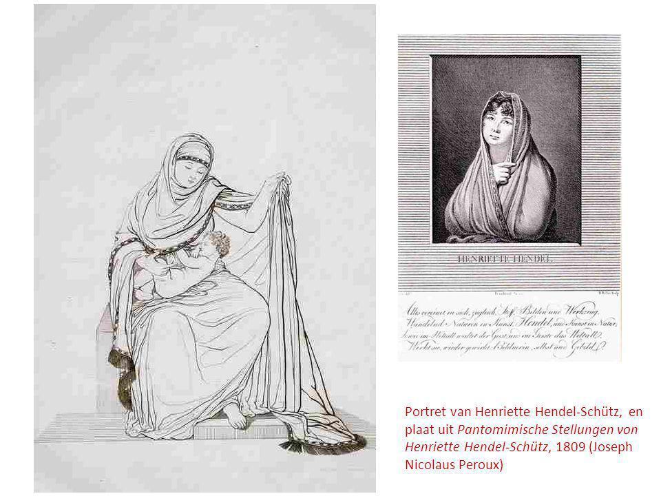 Portret van Henriette Hendel-Schütz, en plaat uit Pantomimische Stellungen von Henriette Hendel-Schütz, 1809 (Joseph Nicolaus Peroux)