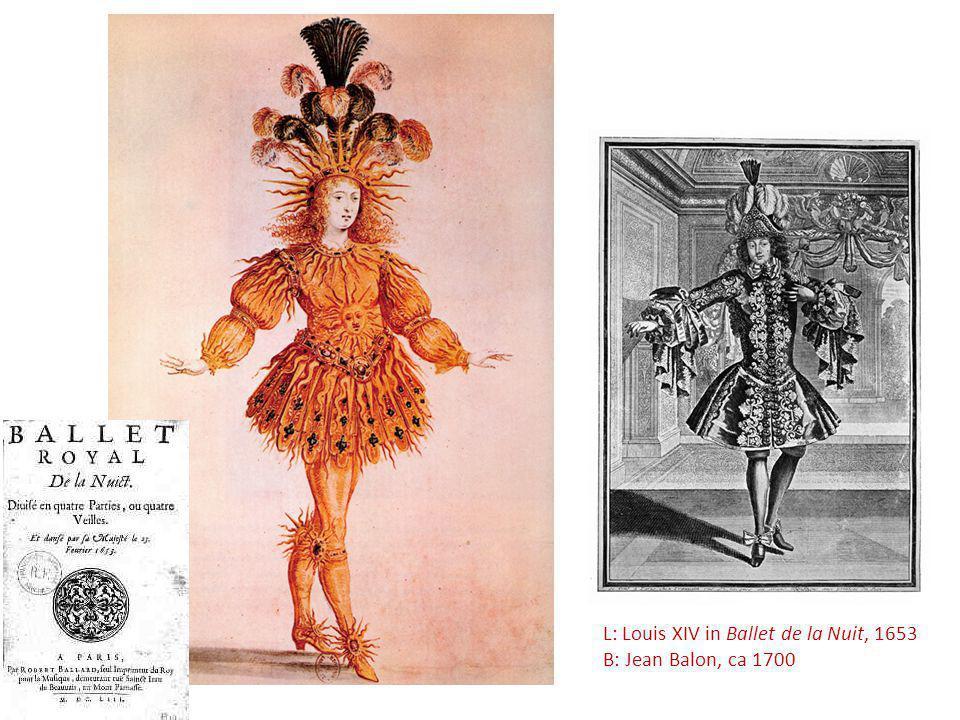 L: Louis XIV in Ballet de la Nuit, 1653 B: Jean Balon, ca 1700