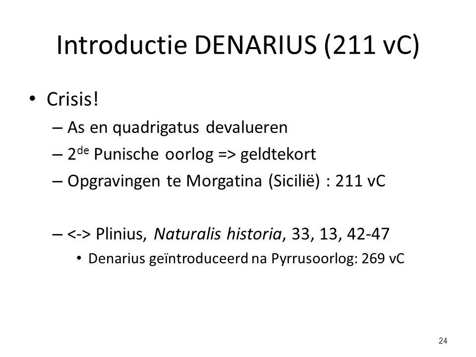 Introductie DENARIUS (211 vC) Crisis! – As en quadrigatus devalueren – 2 de Punische oorlog => geldtekort – Opgravingen te Morgatina (Sicilië) : 211 v