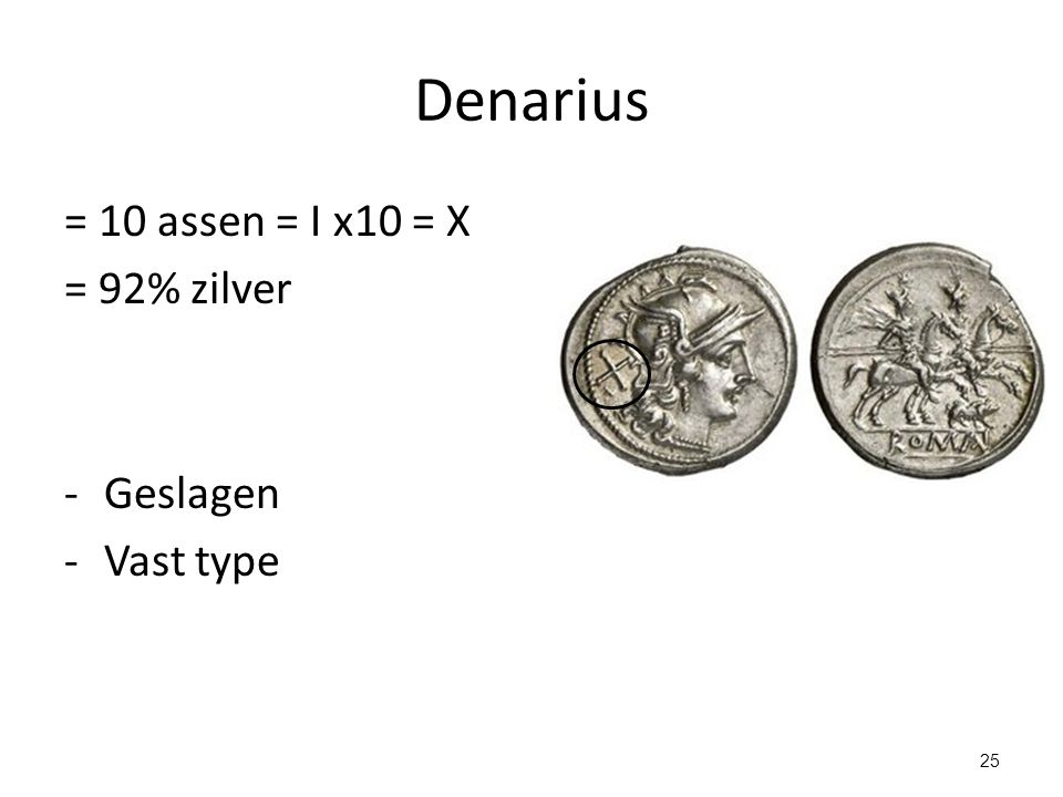 Denarius = 10 assen = I x10 = X = 92% zilver -Geslagen -Vast type 25