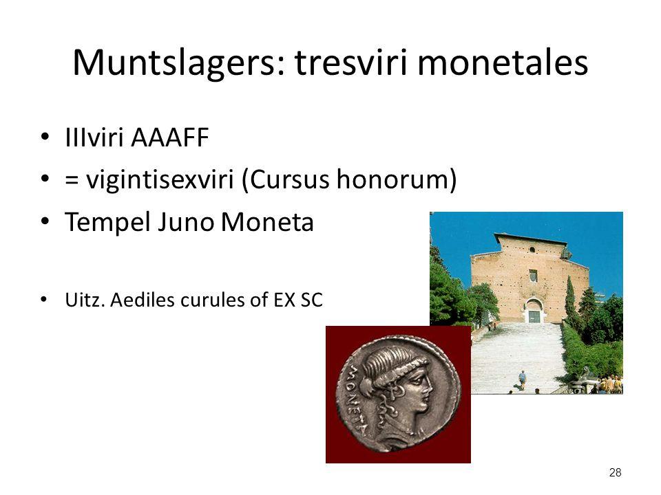 Muntslagers: tresviri monetales IIIviri AAAFF = vigintisexviri (Cursus honorum) Tempel Juno Moneta Uitz. Aediles curules of EX SC 28