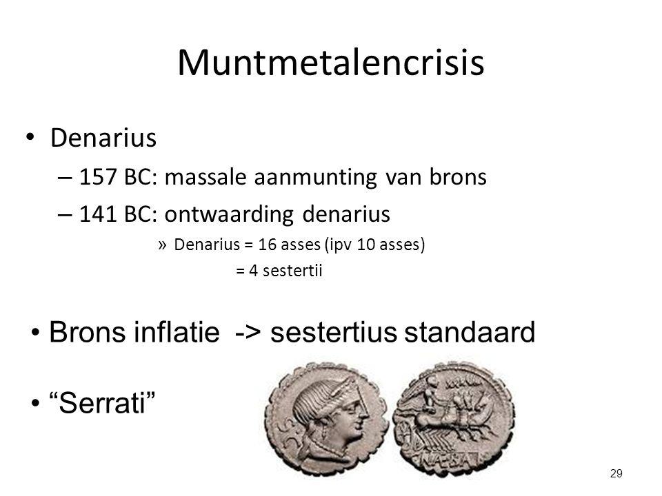 Muntmetalencrisis Denarius – 157 BC: massale aanmunting van brons – 141 BC: ontwaarding denarius » Denarius = 16 asses (ipv 10 asses) = 4 sestertii Br
