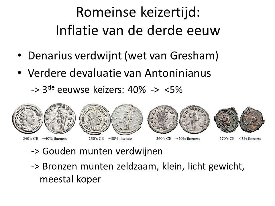 Romeinse keizertijd: Inflatie van de derde eeuw Denarius verdwijnt (wet van Gresham) Verdere devaluatie van Antoninianus -> 3 de eeuwse keizers: 40% -