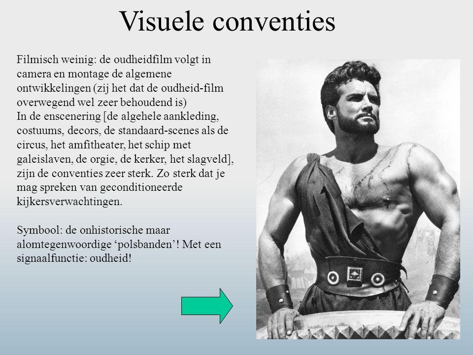 Visuele conventies Filmisch weinig: de oudheidfilm volgt in camera en montage de algemene ontwikkelingen (zij het dat de oudheid-film overwegend wel z