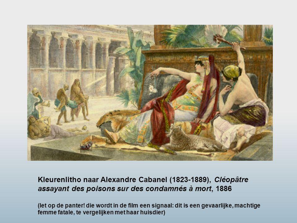 Kleurenlitho naar Alexandre Cabanel (1823-1889), Cléopâtre assayant des poisons sur des condamnés à mort, 1886 (let op de panter! die wordt in de film