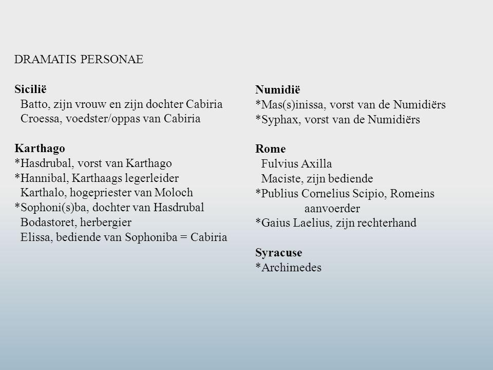 DRAMATIS PERSONAE Sicilië Batto, zijn vrouw en zijn dochter Cabiria Croessa, voedster/oppas van Cabiria Karthago *Hasdrubal, vorst van Karthago *Hanni