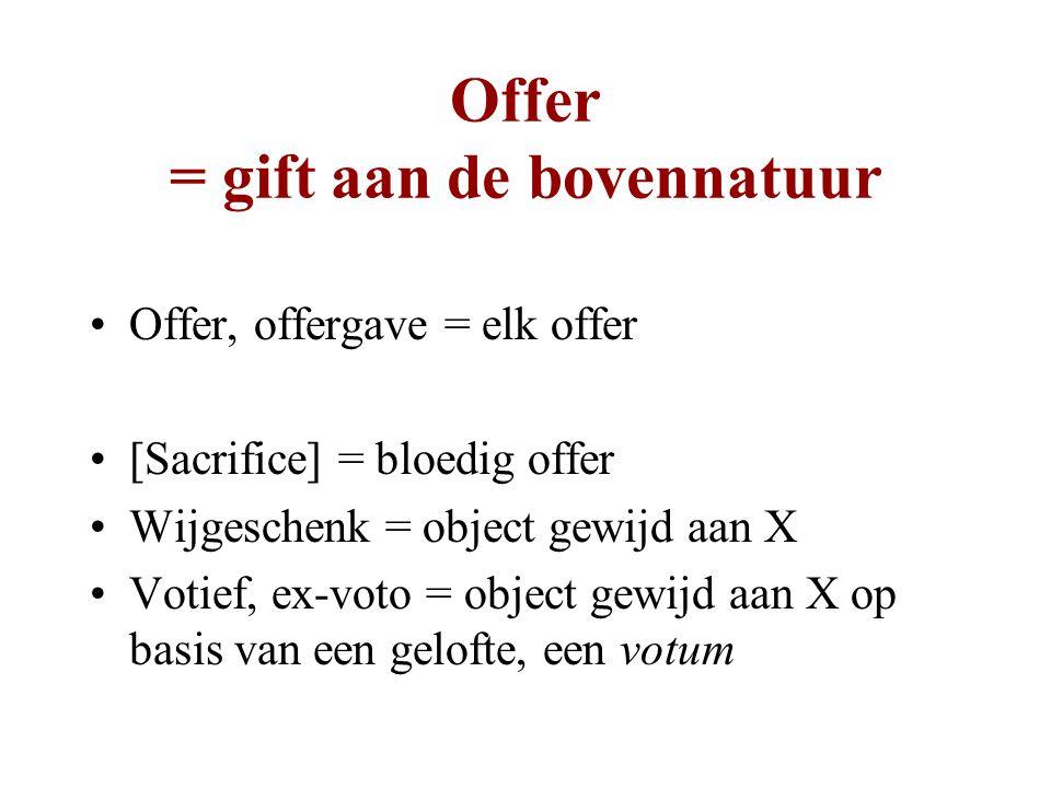 Offer = gift aan de bovennatuur Offer, offergave = elk offer [Sacrifice] = bloedig offer Wijgeschenk = object gewijd aan X Votief, ex-voto = object gewijd aan X op basis van een gelofte, een votum