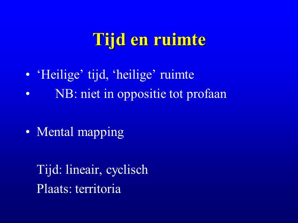 Tijd en ruimte 'Heilige' tijd, 'heilige' ruimte NB: niet in oppositie tot profaan Mental mapping Tijd: lineair, cyclisch Plaats: territoria