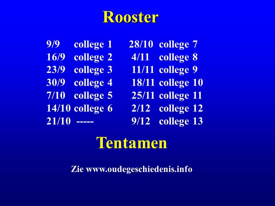 Rooster 9/9college 128/10 college 7 16/9 college 2 4/11 college 8 23/9college 3 11/11 college 9 30/9college 4 18/11 college 10 7/10college 5 25/11 college 11 14/10college 6 2/12 college 12 21/10 ----- 9/12 college 13 Tentamen Zie www.oudegeschiedenis.info