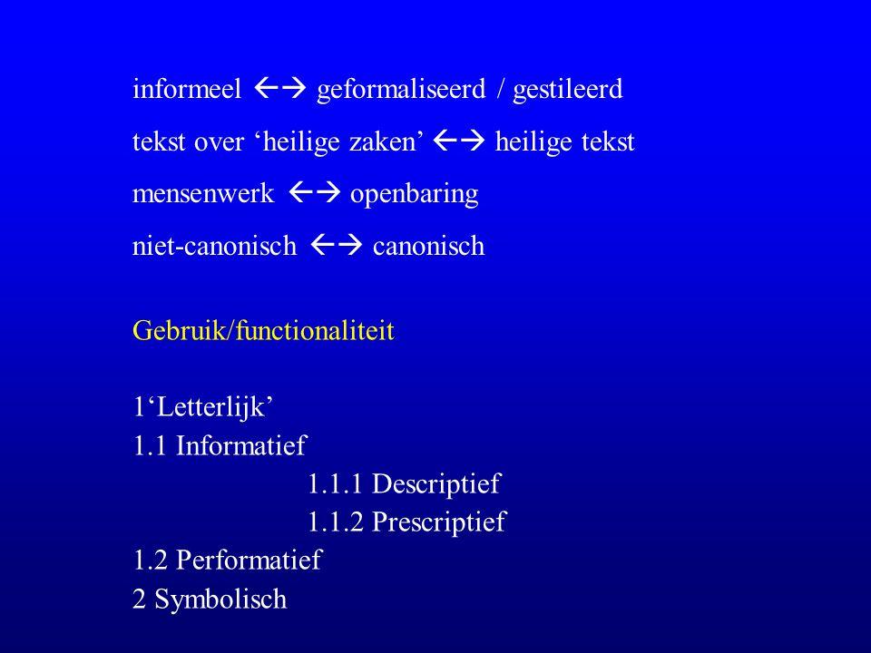 informeel  geformaliseerd / gestileerd tekst over 'heilige zaken'  heilige tekst mensenwerk  openbaring niet-canonisch  canonisch Gebruik/functionaliteit 1'Letterlijk' 1.1 Informatief 1.1.1 Descriptief 1.1.2 Prescriptief 1.2 Performatief 2 Symbolisch