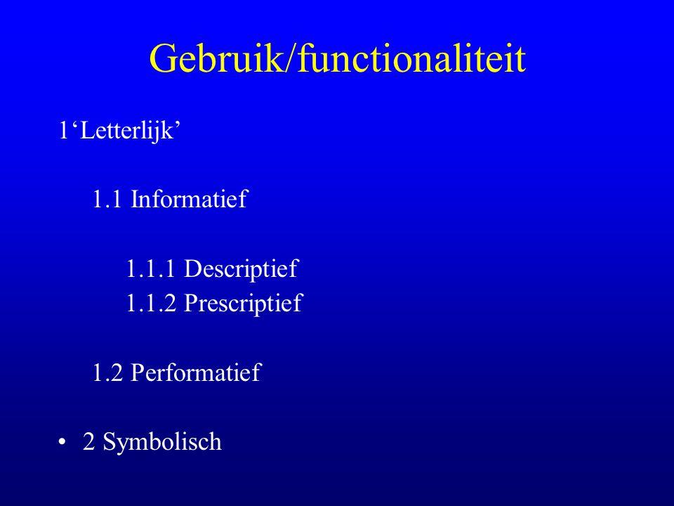 Gebruik/functionaliteit 1'Letterlijk' 1.1 Informatief 1.1.1 Descriptief 1.1.2 Prescriptief 1.2 Performatief 2 Symbolisch