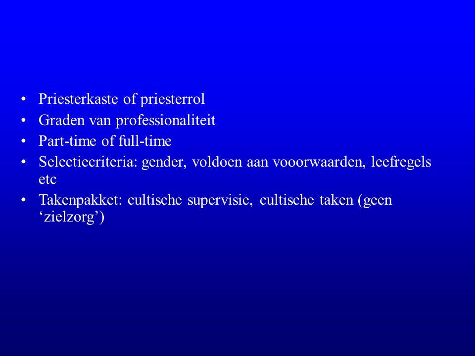 Priesterkaste of priesterrol Graden van professionaliteit Part-time of full-time Selectiecriteria: gender, voldoen aan vooorwaarden, leefregels etc Takenpakket: cultische supervisie, cultische taken (geen 'zielzorg')