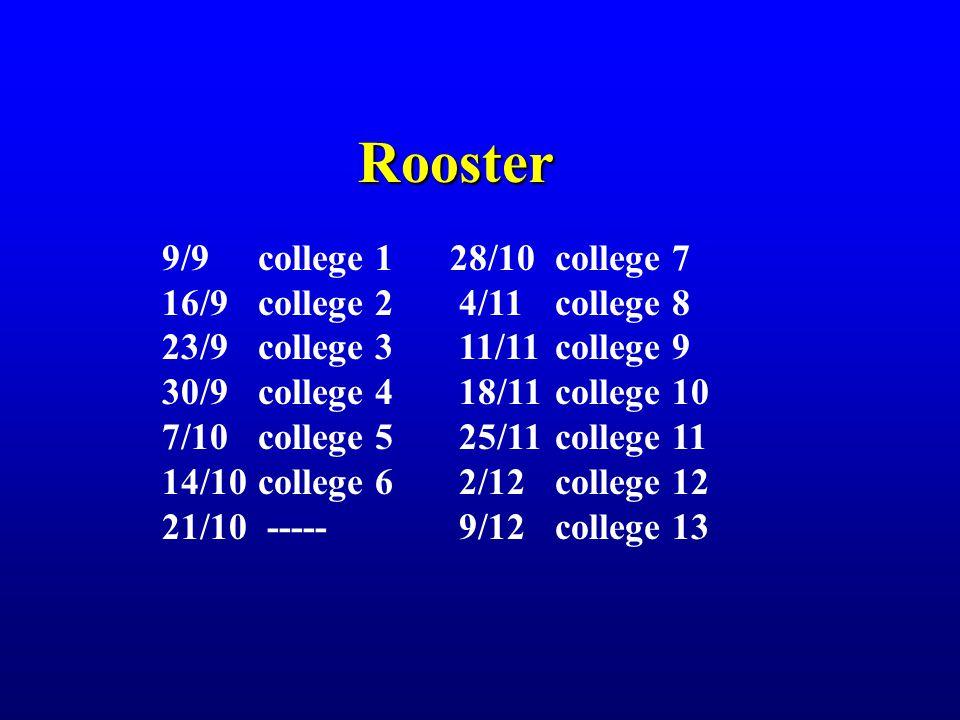 Rooster 9/9college 128/10 college 7 16/9 college 2 4/11 college 8 23/9college 3 11/11 college 9 30/9college 4 18/11 college 10 7/10college 5 25/11 col