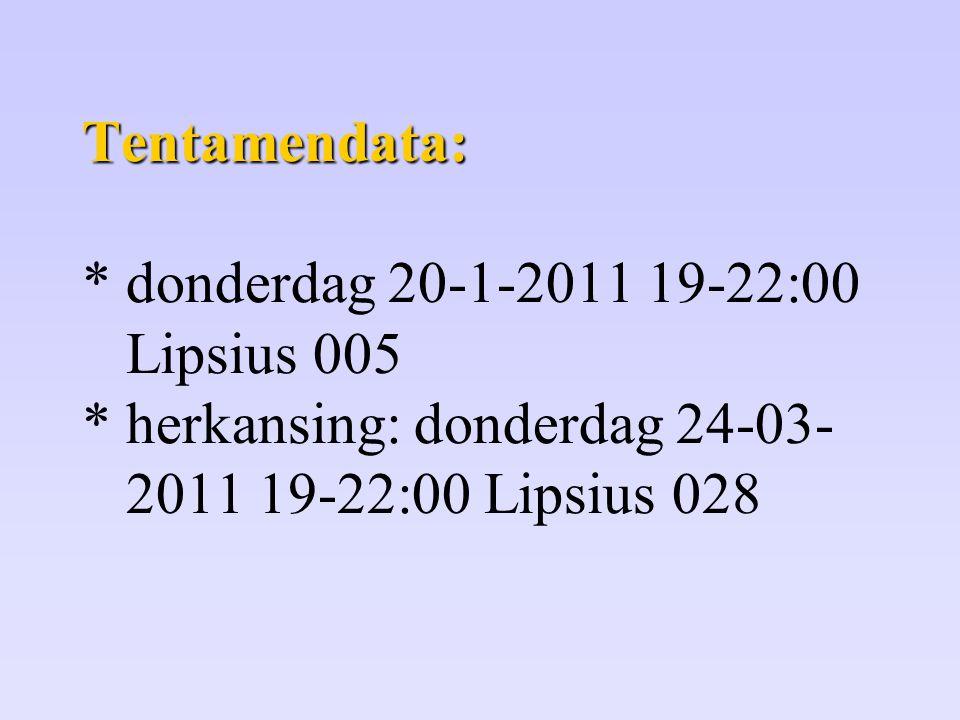 Tentamendata: Tentamendata: * donderdag 20-1-2011 19-22:00 Lipsius 005 * herkansing: donderdag 24-03- 2011 19-22:00 Lipsius 028