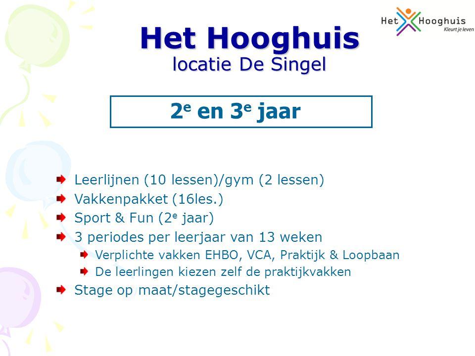 Leerlijnen (10 lessen)/gym (2 lessen) Vakkenpakket (16les.) Sport & Fun (2 e jaar) 3 periodes per leerjaar van 13 weken Verplichte vakken EHBO, VCA, P