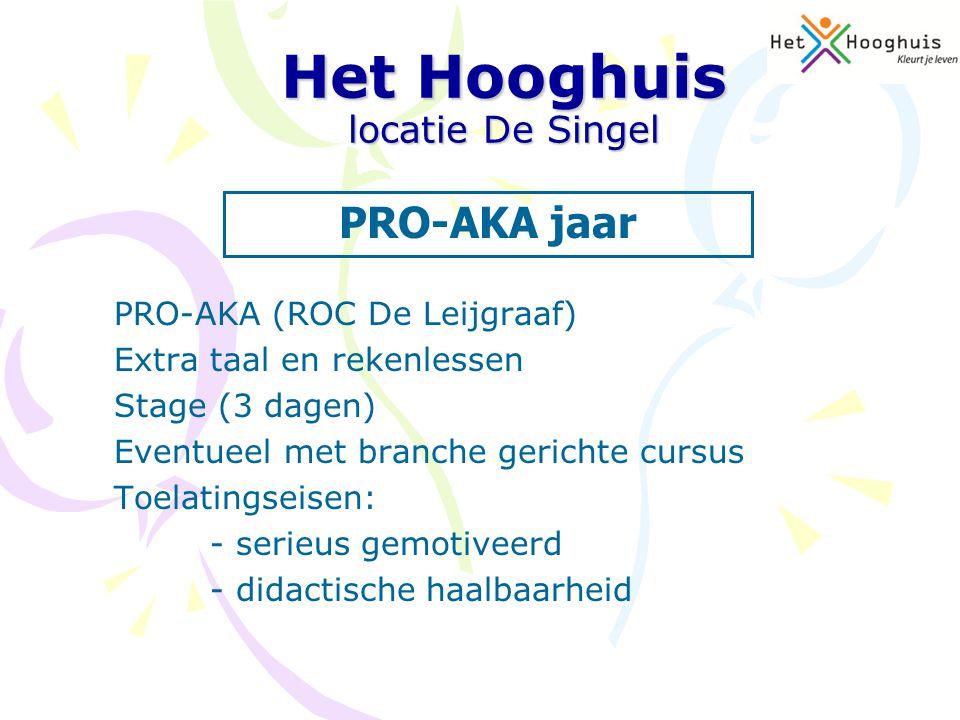 PRO-AKA (ROC De Leijgraaf) Extra taal en rekenlessen Stage (3 dagen) Eventueel met branche gerichte cursus Toelatingseisen: - serieus gemotiveerd - di